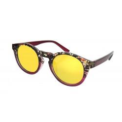 Sonnenbrille rot braun schwarz runde gelbe Gläser