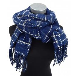 Damenschal Winterschal blau beige lange Fransen Herbst Winter