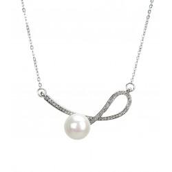 Kurze Halskette silber Perle Strass
