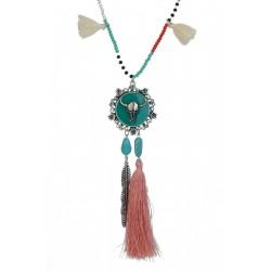 Lange Halskette silber bunt Büffel Ibiza Boho Style