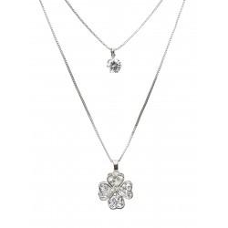 Halskette silber Blume