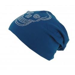 Long Beanie blau Strass Skull Totenkopf Baumwolle
