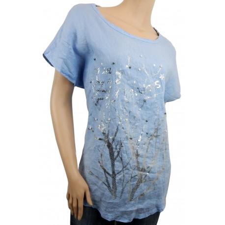 Blusenshirt blau silber