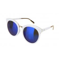 Sonnenbrille weiß blau gold