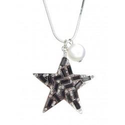 Halskette Stern schwarz silber