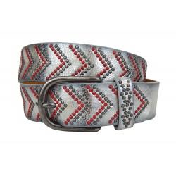 Boho Ibiza Gürtel silber metallic Leder Synthetik Damengürtel Nietengürtel