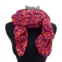 Weicher Damenschal mit schönem Ethno-Motiv in orange und violet by Ella Jonte