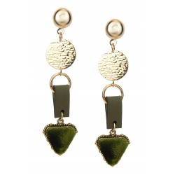 Lange Ohrringe gold grün Samt Ohrstecker im Geschenkkarton