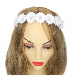 Haarreifen weiß Strass Blumen Brautschmuck