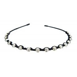 Haarreifen schwarz silber Perlen