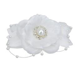 Haarkamm weiß Blume Perlen Strass Brautschmuck