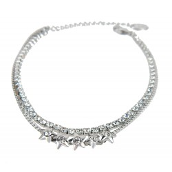 Doppel-Armband silber Sterne Strass