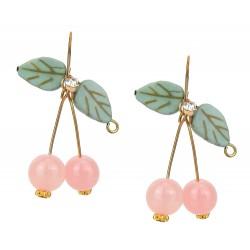 Ohrringe Kirschen gold rosa Ohrhänger