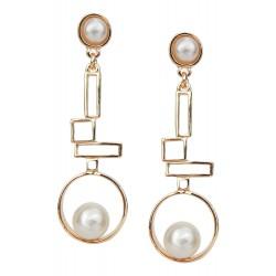 Ohrringe gold weiß Perlen lange Ohrstecker