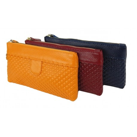 Tasche rot blau gelb Leder Geldbörse Kosmetiktasche