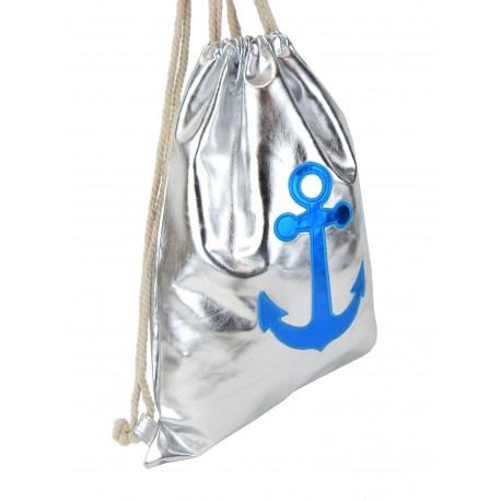 Gymbag Anker silber blau metallisch