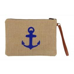 Kleine Anker Tasche Clutch Kosmetiktasche beige blau maritim
