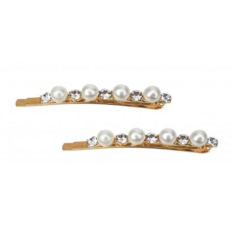 2 X Haarklammer gold Perlen Strass