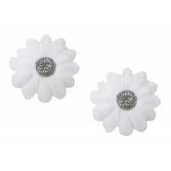 2 X Haarclip Stoffblumen weiß silber