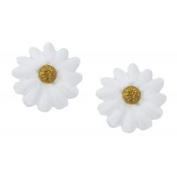 2 X Haarclip Stoffblumen weiß gold