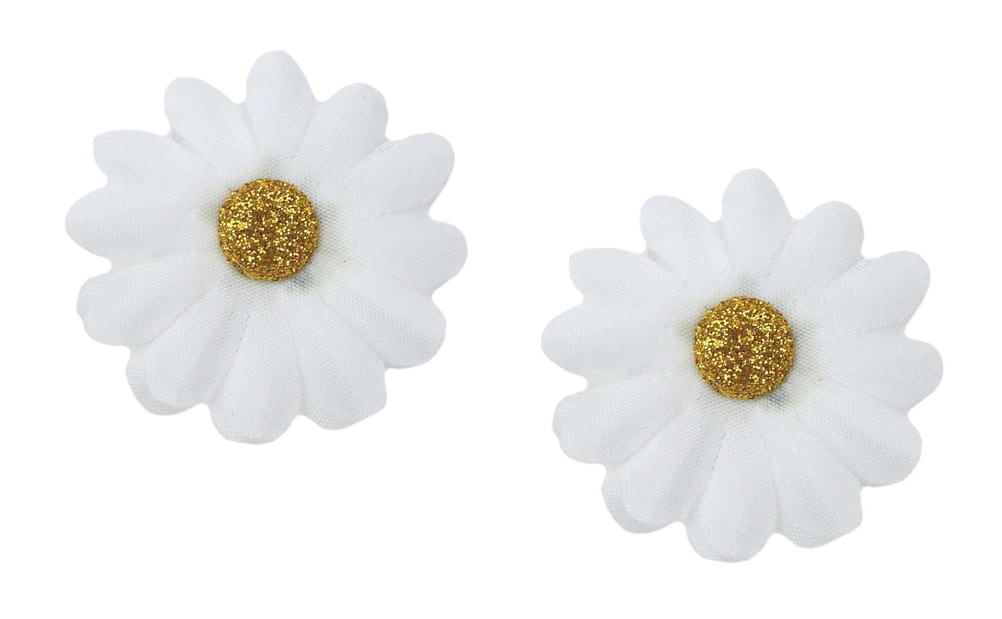 Ella Jonte 2 x Haarclip Stoffblumen weiß gold Gänseblümchen Haarspange Blume