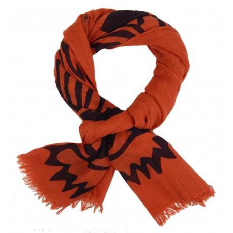 Trendiger leichter Baumwollschal orange mit Tiger-Motiv Schal by Ella Jonte