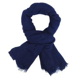 Schal blau mit bunten Stoffknötchen