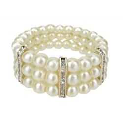 Perlenarmband elfenbein silber
