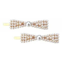 2 X Haarklammer Schleife Perlen