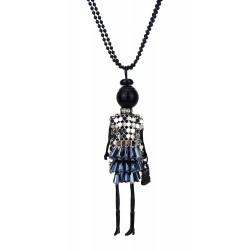 Halskette Püppchen schwarz silber