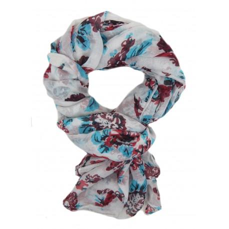 Damenschal elfenbein rot bunt Blumen Schal