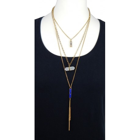 Boho Kette blau weiss triple pendant