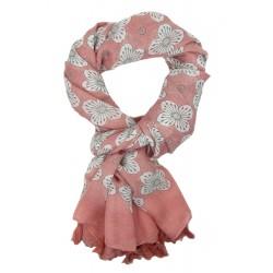 Breiter Schal rosa weiß grau Blumen Quasten