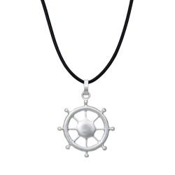 Lange Halskette Steuerrad silber schwarz maritim
