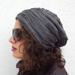 Long Beanie Falten schwarz grau oder blau Herbst Winter