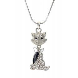 Halskette silber Katze Strass