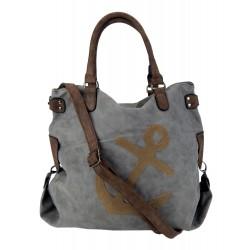 Tasche Anker grau braun XXL Shopper maritim Damen Handtasche