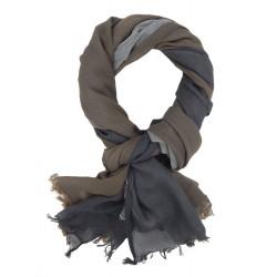 Leichter breiter Herrenschal grau braun Baumwolle