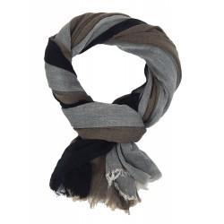 Leichter breiter Herrenschal grau schwarz braun Baumwolle