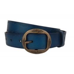 Damen Gürtel Ledergürtel blau Schnalle gold