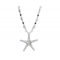 Lange maritime Kette mit Seestern + Perlen