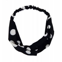 Rockabilly Haarband schwarz weiß Punkte Schleife Polka Dots