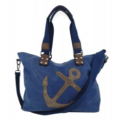 Tasche Anker blau braun Nieten Handtasche Schultertasche maritim