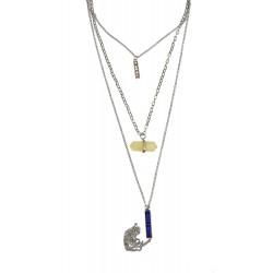 Multiayer Halskette silber blau ivory Layer Kette mehrreihig