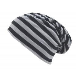 Leichter Long Beanie grau schwarz Streifen Unisex