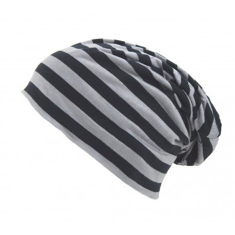 """Long Beanie """"Stripe"""" schwarz grau by Ella Jonte"""
