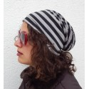 "Long Beanie ""Stripe"" schwarz grau  by Ella Jonte"