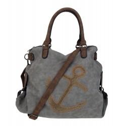 Tasche Anker grau braun Nieten XXL Shopper mit Anker