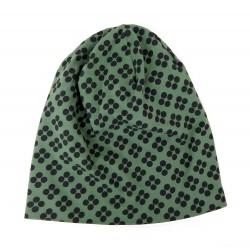 Long Beanie grün grau Punkte Damen Mütze Frühling Herbst Indoor