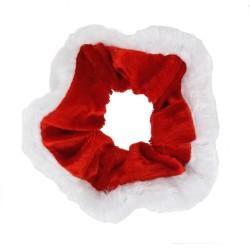 Scrunchie Haargummi rot weiß Weihnachten X-MAs Weihnachtsfrau